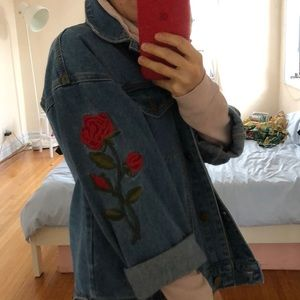 Forever 21 Embroidered Rose Jean Jacket